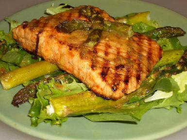 Original photo Roasted Salmon and Asparagus Salad with Mustard Vinaigrette found on KalynsKitchen.com