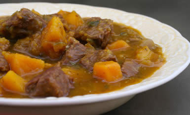 Stew with beef, butternut squash, rosemary, and balsamic vinegar.