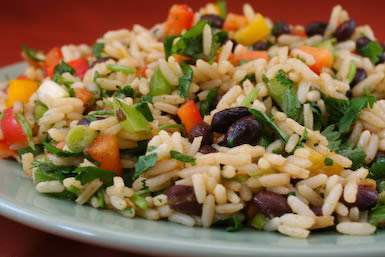 Recipe for Black Bean, Rice, and Cilantro Salad
