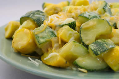 Original photo for Easy Calabacitas or Cheesy Summer Squash with Onions and Chiles found on KalynsKitchen.com