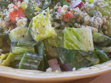 Original Photo Crunchy Chopped Salad with Gorgonzola and Radishes found on KalynsKitchen.com