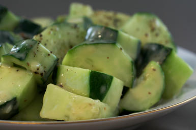 Easy Low-Carb Cucumbers Caesar found on KalynsKitchen.com