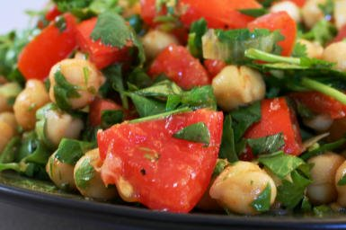 Original Photo Garbanzo, Tomato, Avocado, and Cilantro Salad with Lime and Chile Dressing found on KalynsKitchen.com.