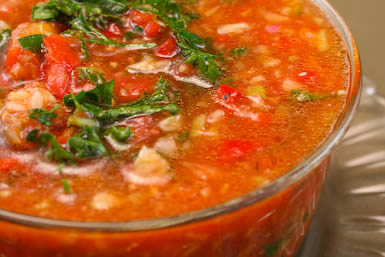 Gazpacho Recipe and Cooking with Friends found on KalynsKitchen.com