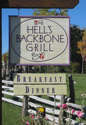 The sign at Hell's Backbone Grill, hinting at the simple charm waiting ...