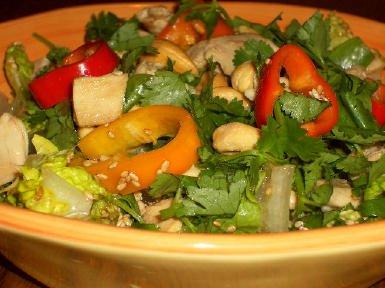 Leftover Chicken Asian Chopped Salad found on KalynsKitchen.com
