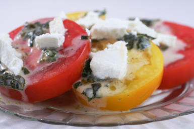 Recipe for Summer Red and Yellow Tomato Salad with Goat Cheese and Basil Vinaigrette