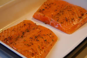 Recipe for Roasted Salmon with Balsamic Sauce from KalynsKitchen.com