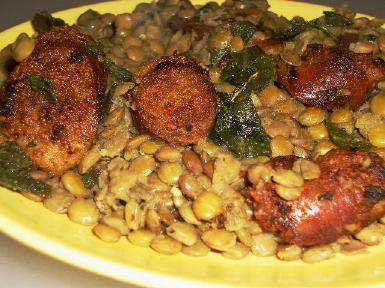 Original photo Recipe for Sausage and Lentils with Fried Sage (Gluten-Free) found on KalynsKitchen.com