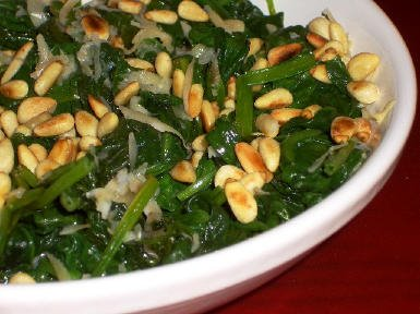 Kalyn's Kitchen: Sauteed Spinach with  Parmesan and Pine Nuts