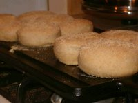 English muffins on the griddle