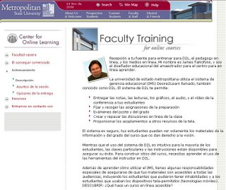 Screenshot of Faculty Training webpage translated into Spanish - click image to load larger version.
