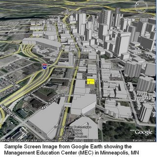 Screen capture showing downtown Minneapolis in 3-Dimensional view from 300 feet above street level via GoogleEarth.