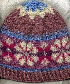 pink mohair Fair Isle hat