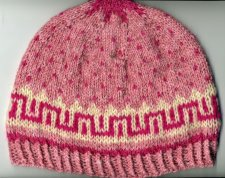 Pink wool colorwork hat