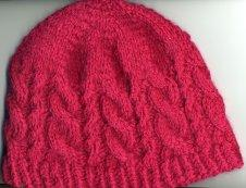 red cabled hat