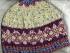 White Fair Isle mohair hat