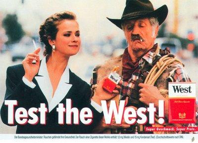 Test the West! Anzeige und Plakat Cowboy