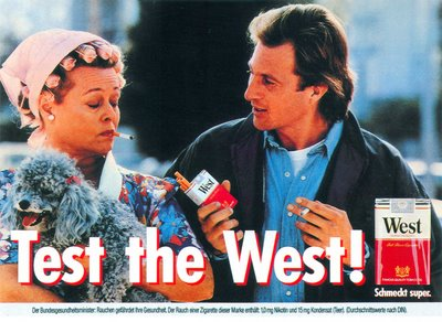 Test the West! Anzeige und Plakat Hausfrau Lockenwickler