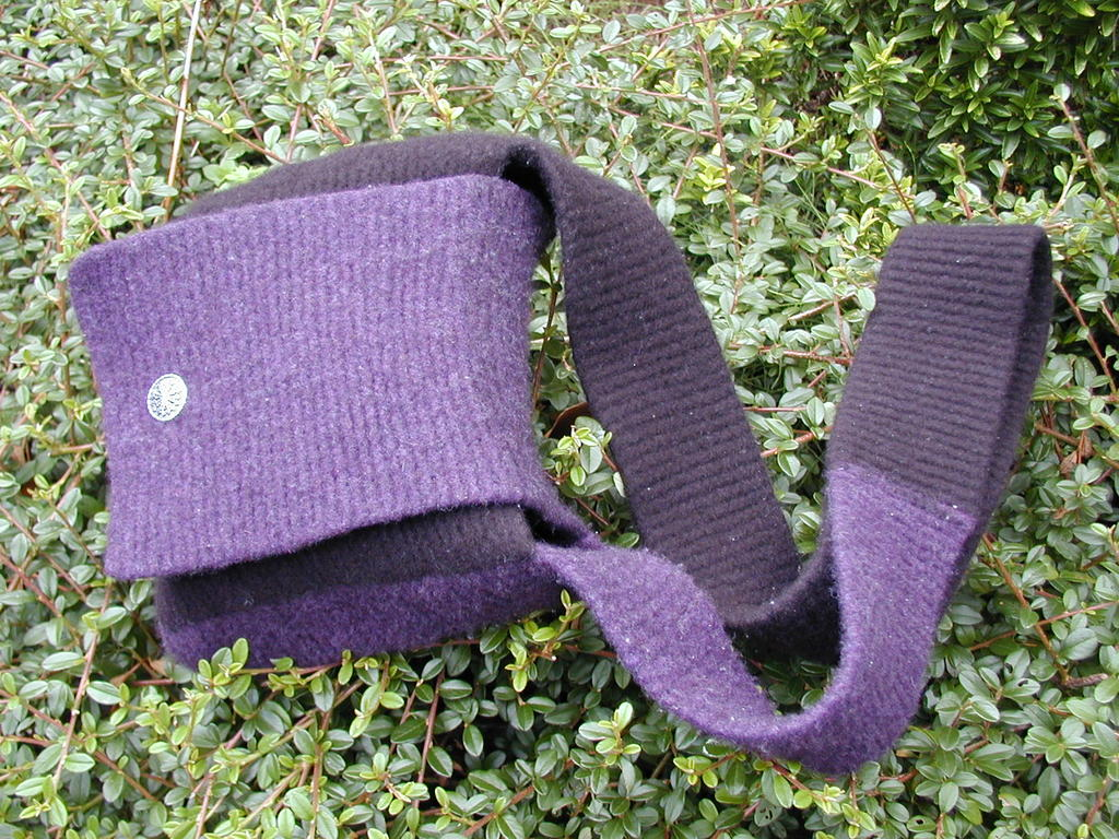 Purple and black felted bag