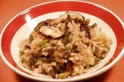Risotto with Garlic Roasted Asparagus and Shiitake