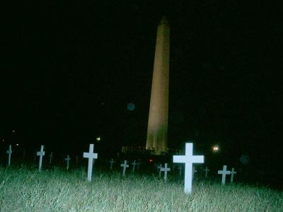 Crosses in the National Mall near Cindy Sheehan's Camp Casey