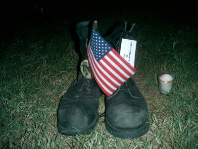 The boots of an American soldier who died in Iraq