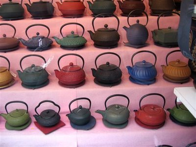 So many beautiful tea pots in this window near Odeon