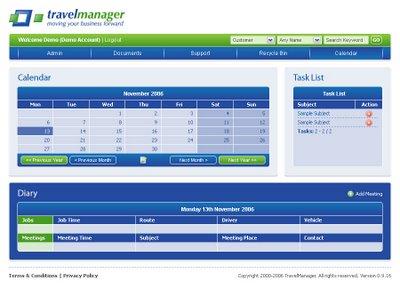 TravelManager Calendar Screenshot