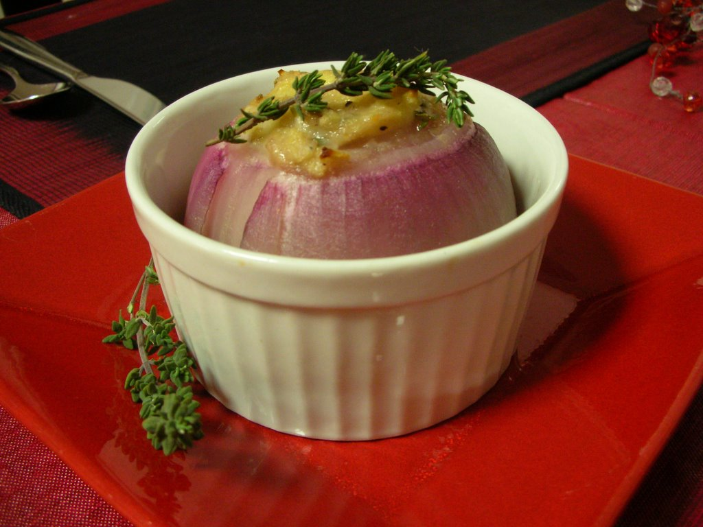 ... : Day 273: Slow-Roasted Stuffed Red Onions with Lavender & Thyme