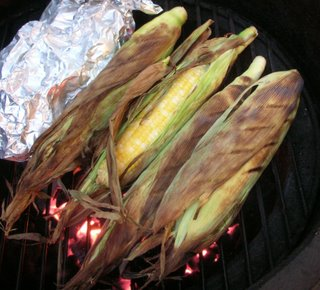 Corn grilled, right in the husk
