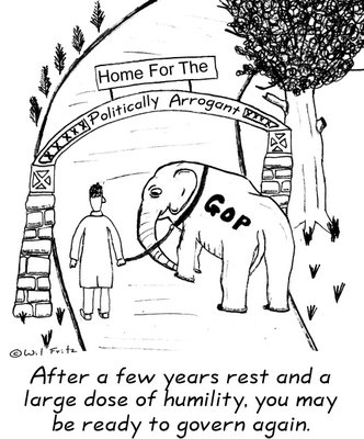 Dejected GOP elephant being led up the path to the Home For The Politically Arrogant.  Man leading him says 'After a few years rest and a large dose of humility, you may be ready to govern again.'
