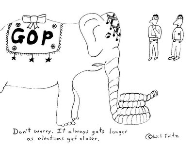 GOP elephant with extremely long trunk.  On looker says 'Don't worry.  It always gets longer as elections get closer.'