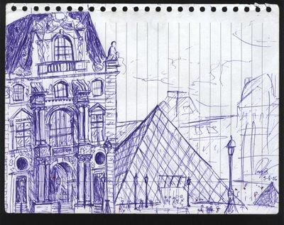 dibujo museo Louvre parís