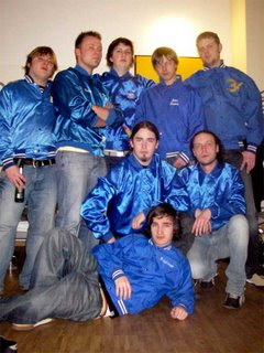 the guys bought matching shiny blue jackets at a thrift store. for some reason...