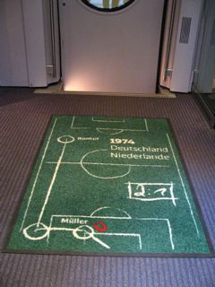 World Cup mat found on the trains, welcoming passengers on board