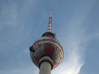 The telecommunications tower in Alexanderplatz, Berlin decked out as a football