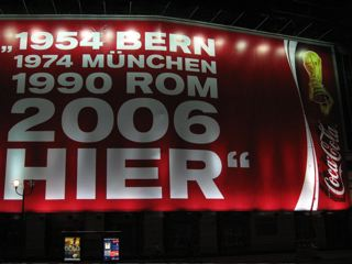 Electronic signboard highlights the venues of Germany's World Cup victories with 2006 here too!