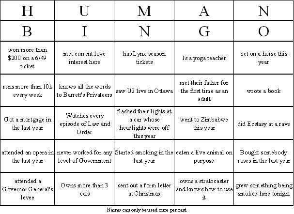 David Scrimshaw'S Blog: Human Bingo - The Ultimate Party Mixer