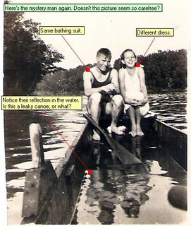 Here s the mystery man again. Doesn t this picture seem so carefree? Same bathing suit. Different dress. Notice their reflection in the water.Is this a leaky canoe, or what?