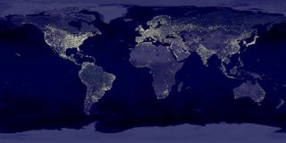 mapa do mundo de noite com pontos brilhantes sobre as cidades