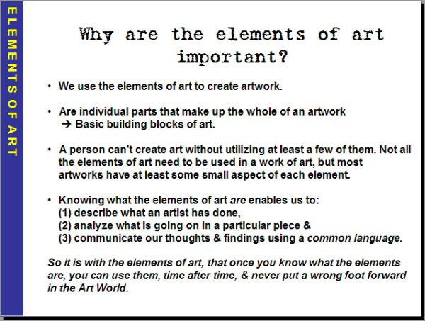 Different Elements Of Art : Sec two art january