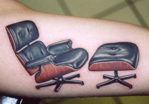 Eames Classic Chair and Ottoman as a tattoo