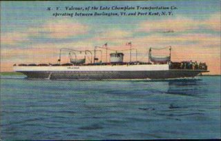 image of a postcard depicting the MV Valcour