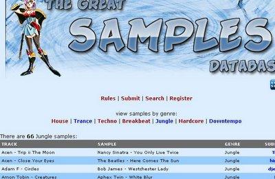 The Great Samples Database on Ishkur's Guide to Electronic Music. Funny. Comprehensive. Takes the piss out of ravers.