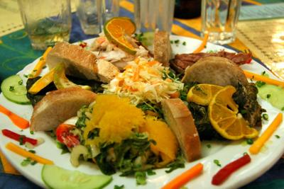 photograph picture of a plateful of lovo food from