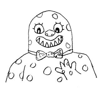Mr Blobby with a single row of razor sharp teeth