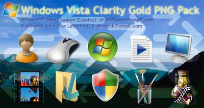 Windows Vista Clarity Gold PNG Pack