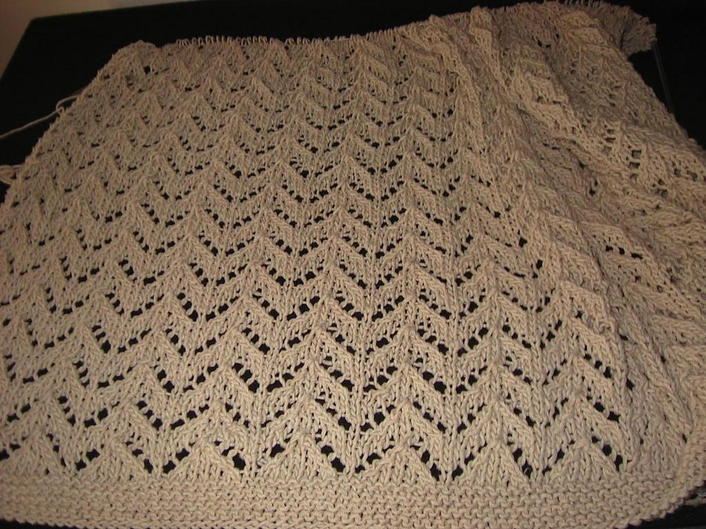 Mari\'s knitting blog: Zig Zag lace throw WIP