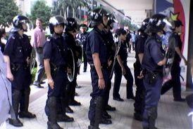 Riot police at CPF Building